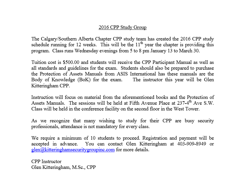 CPP Scheduled Winter 2016